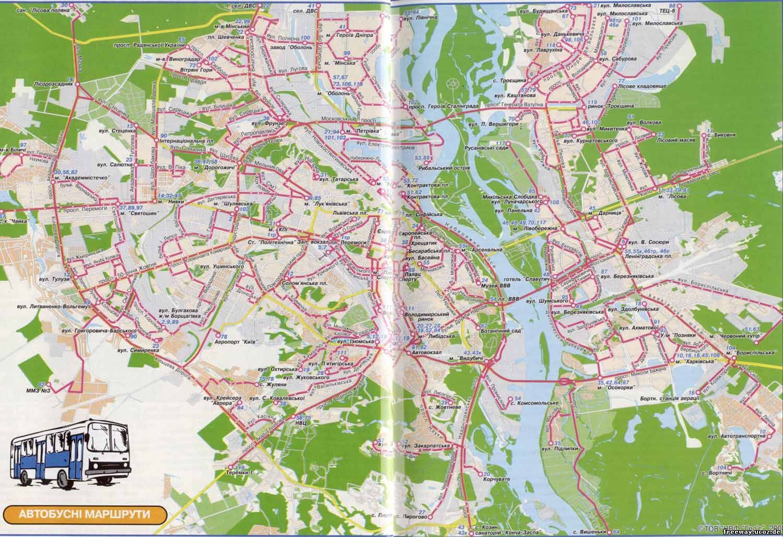 схема (карта) автобусных маршрутов Киева