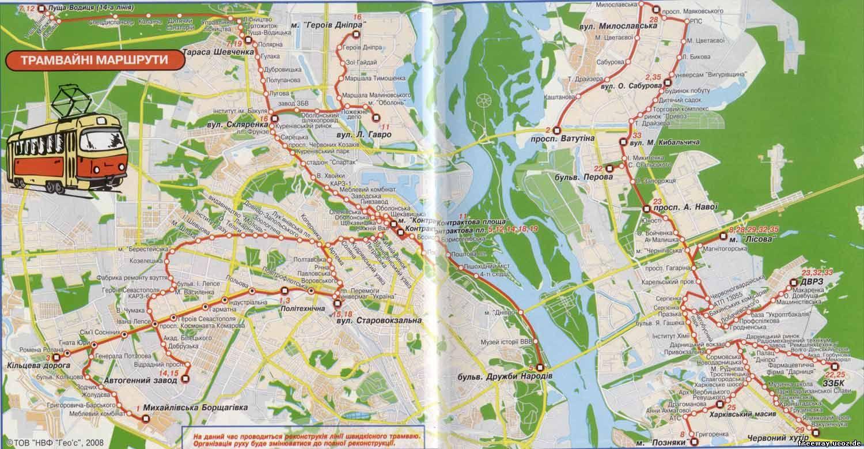 схема (карта) трамвайных маршрутов Киева