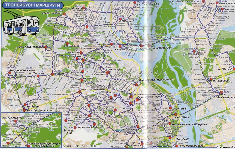 схема (карта) троллейбусных маршрутов Киева