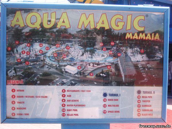 1 Вход/выход; 2 Душевые/раздевалки/камеры хранения; 3 Туалет; 4 Магазин; 5 Танцпол с бьющими снизу струйками воды; 6 Ресторан/фаст-фуд; 7 Бар; 8 Бар у бассейна; 9 Детская площадка; 10 Детский бассейн; 11 Бассейн; БАШНЯ 1: 12 Rive Ride; 13 Multislide; 14 Space Bowl; БАШНЯ 2: 15 Megapipe; 16 Twister; 17 Kamikaze; 18 Turboslide; 19 Black Hole; 20 Super Crater.