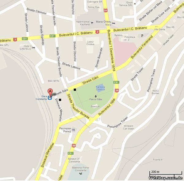 На карте красным маркером с буквой А показана ж/д станция. Двумя черными квадратами помечены остановки, на которых останавливаются маршрутки и автобусы, идущие в сторону курорта Mamaia.