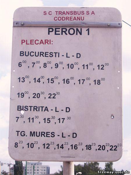 Расписание автобусов, отправляющихся с автовокзала № 1 г. Brasov