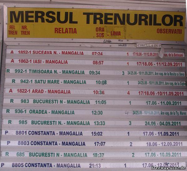 Расписание движения поездов от станции Mangalia