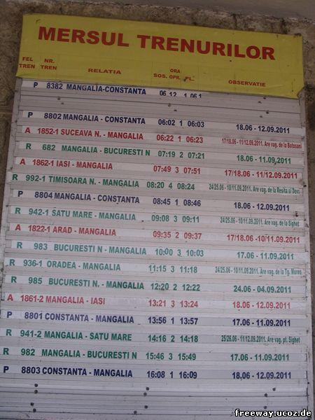 MERSUL TRENURILOR – Расписание движения поездов