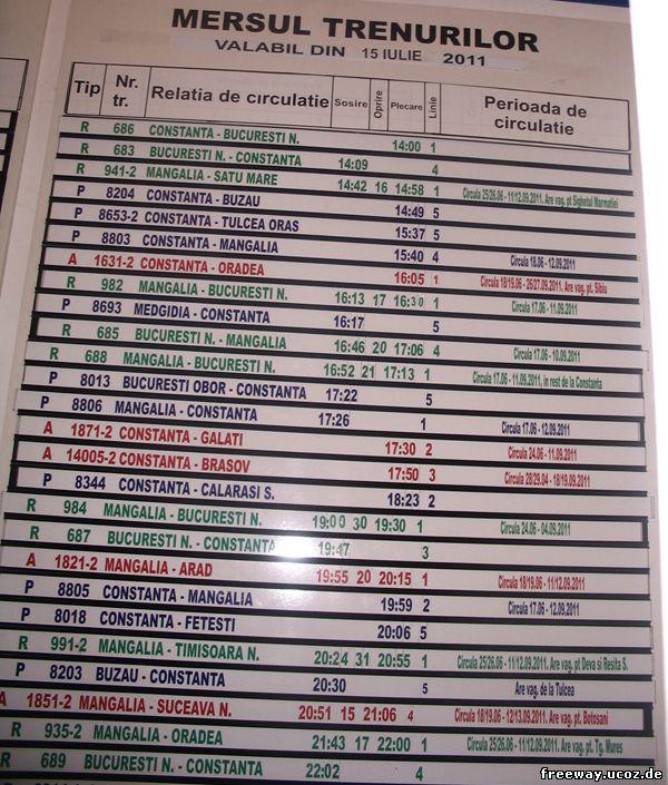 MERSUL TRENURILOR VALABIL DIN 15 IULIE 2011 (Расписание движения поездов действительно с 15 июля 2011)