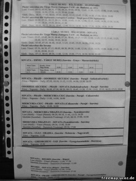 Расписание транспорта из г. Sovata(для просмотра изображения в полном размере, нажмите на картинку)