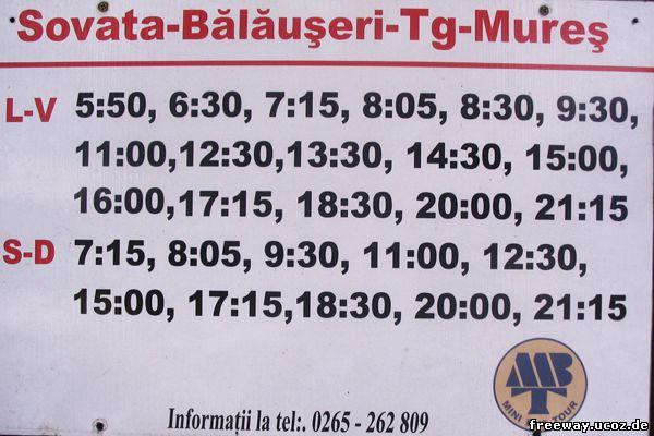 Расписание транспорта по маршруту Sovata – Balauseri – Targu Mures