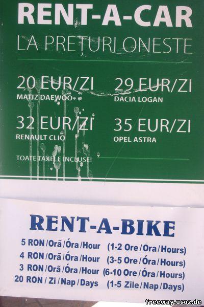 Автомобиль: 20-35 €/день, в зависимости от марки машины. Велосипед: 5 RON/час (1-2 часа), 4 RON/час (3-5 часов), 3 RON/час (6-10 часов), 20 RON/день (1-5 дней).