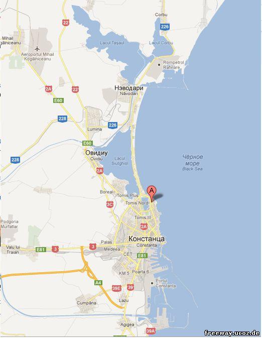 Маркером с буквой «А» показано начало курорта Mamaia, который протягивается вдаль тонкой полоской суши, окаймленной с одной стороны морем, а с другой пресным озером. В конце курорта находится туристический комплекс